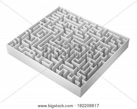 Maze Isolated On White Background, 3D Rendering Illustration