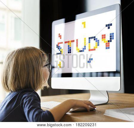 8 bit words illustration of education knowledge