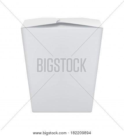 Realistic blank take away wok food container isolated on white background vector illustration. Packaging design element for branding.