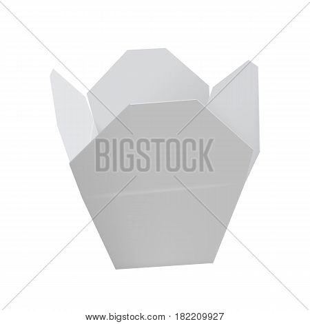 Open white chinese restaurant take out box isolated on white background vector illustration. Packaging design element for branding.