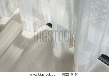 Close Up Of Curtain Part Of Draperies With Sunlight Moring