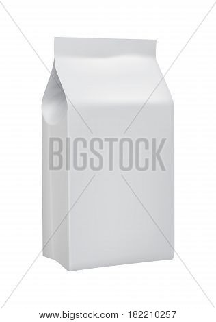 Blank white 3d model take away product package isolated on white background vector illustration. Packaging design element for branding.