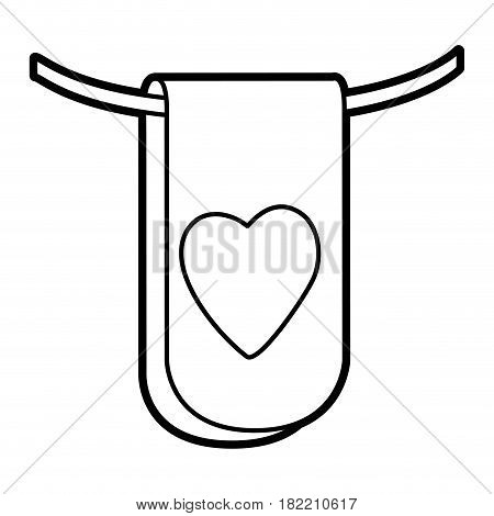 silhouette flag in a rope for decoration with heart shape inside vector illustration