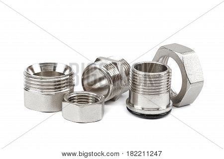 Plumbing metal coupling an adapter isolated on a white background.