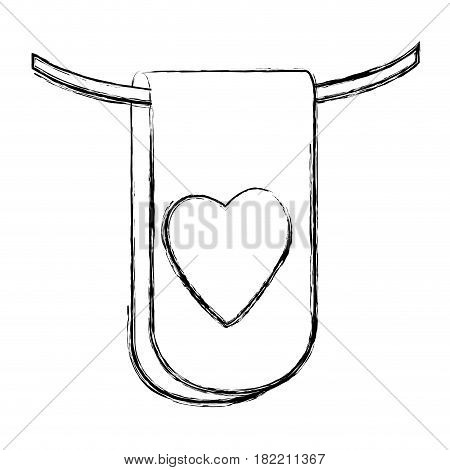 blurred silhouette flag in a rope for decoration with heart shape inside vector illustration