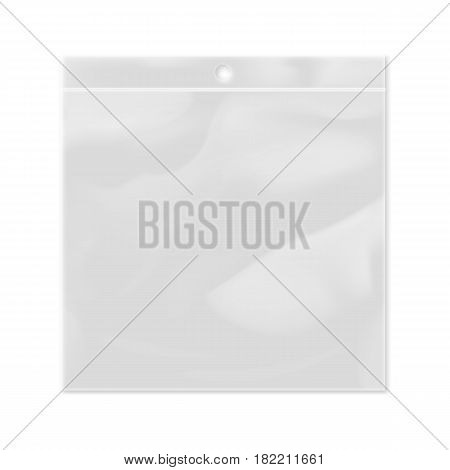 Realistic plastic transparent bag template isolated on white background vector illustration. Packaging design element