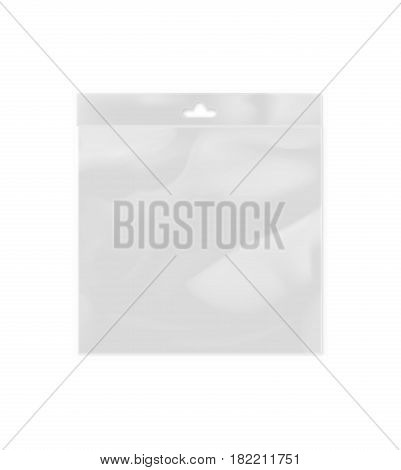 Blank polythene container with hang slot isolated on white background vector illustration. Packaging design element