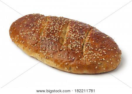 Single fresh Moroccan homemade krachel bread on white background