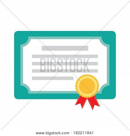 Diploma certificate award icon on white background Vector Illustration