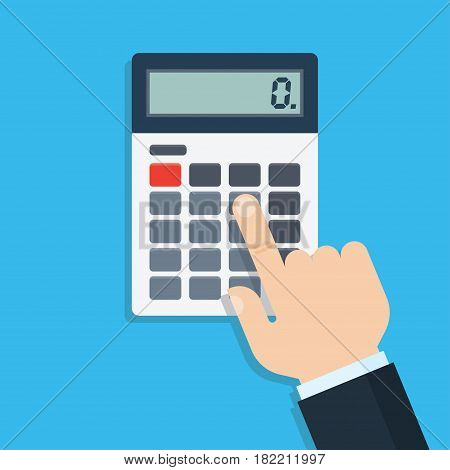 Hand with calculator flat design vector illustration