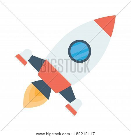 rocket space ship take off isolated on white background. Vector illustration.