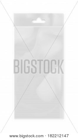 Plastic bag with hang slot isolated on white background vector illustration. Packaging design element