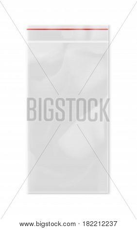 Empty transparent plastic zipper bag isolated on white background vector illustration. Packaging design element