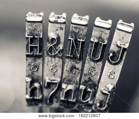macro of old hammers