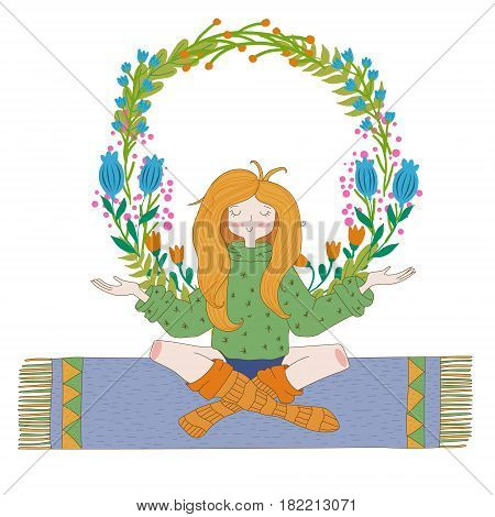 Happy hippie girl with flowers, bright colored handdrawn vector. Love and peace illustration. Meditation theme