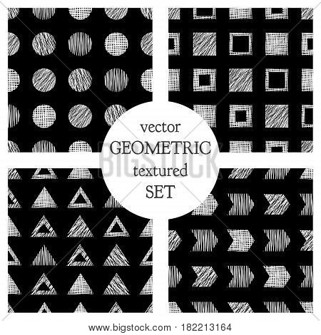 Set Of Seamless Vector Geometrical Patterns With Triangles, Circle, Squares. Black And White Pastel