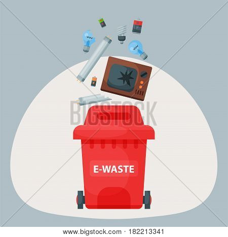 Recycling garbage elements trash bag tires management industry utilize concept and e-waste ecology can bottle recycling disposal box vector illustration. Eco pollution refuse service plastic.