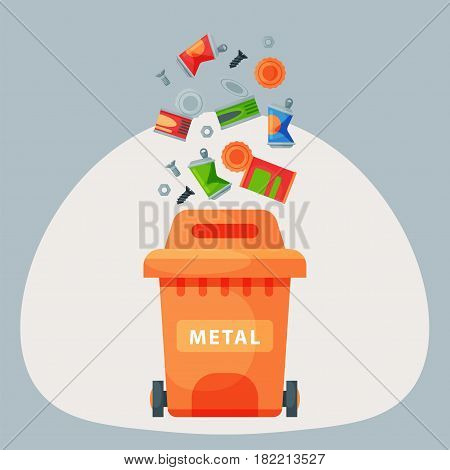 Recycling garbage metal elements trash bags tires management industry utilize concept and waste ecology can bottle recycling disposal box vector illustration. Eco pollution refuse service.