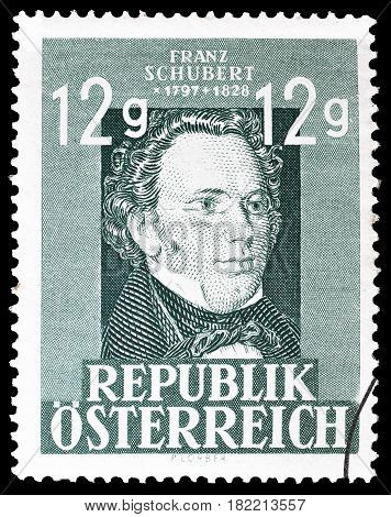 AUSTRIA - CIRCA 1947 : Cancelled postage stamp printed by Austria, that shows Franz Schubert.