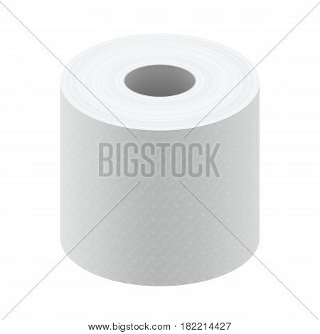 White blank thermal fax paper roll isolated on white background vector illustration.