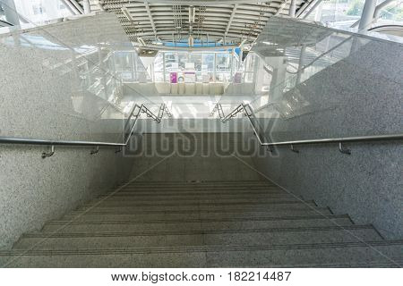 Stair at the BTS station in Bangkok Thailand.