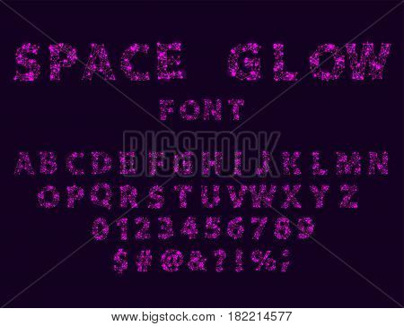 Font space alphabet typeface script with minimal design typographic in a set modern minimalistic graphic vector illustration. Creative digital typeset vibrant word beautiful galaxy game art.