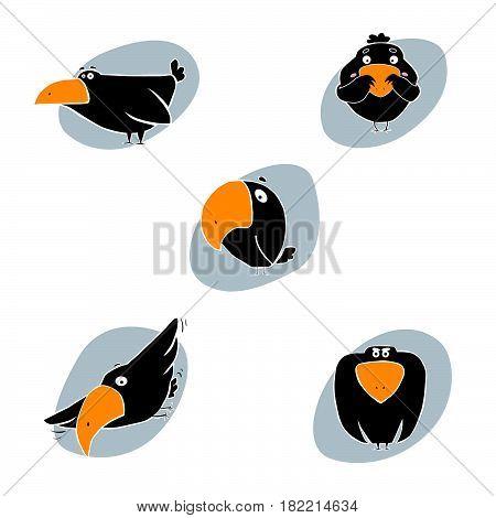 Cute cartoon raven vector illustration. Cartoon raven isolated on background. Raven, bird, animal. Vector raven animal. Cute raven vector illustration. Raven vector isolated