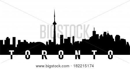 very big size toronto city skyline silhouette with text