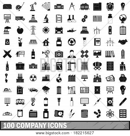 100 company icons set in simple style for any design vector illustration