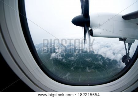 Propeller of the plane view from window airplane