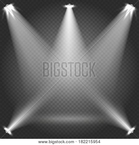 Stage illumination with white transparent spotlight beams isolated on plaid backdrop vector illustration. Bright light from projectors