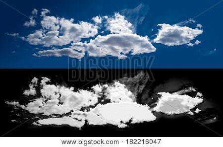 Nature, sky. White cloud cut-out mask. Closeup blue sky