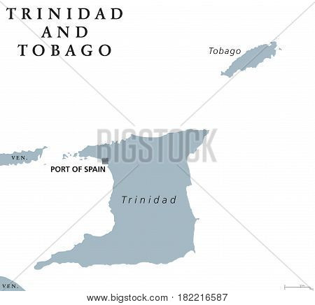 Trinidad and Tobago political map with capital Port of Spain. Republic and Caribbean twin island country in the north of Venezuela. Gray illustration on white background. English labeling. Vector.