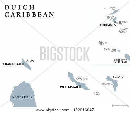 Dutch Caribbean political map with Aruba, Curacao, Bonaire, Sint Maarten, Saba and Sint Eustatius. Former Netherlands Antilles. Gray illustration isolated on white background. English labeling. Vector