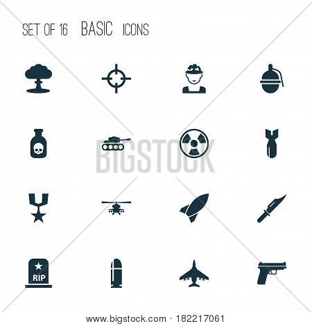 Battle Icons Set. Collection Of Cutter, Panzer, Atom And Other Elements. Also Includes Symbols Such As Oficer, Chopper, Rocket.