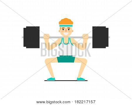 Sporty boy in sportswear cowering with barbell isolated on white background vector illustration. Bodybuilding exercise, crossfit training concept in flat design.