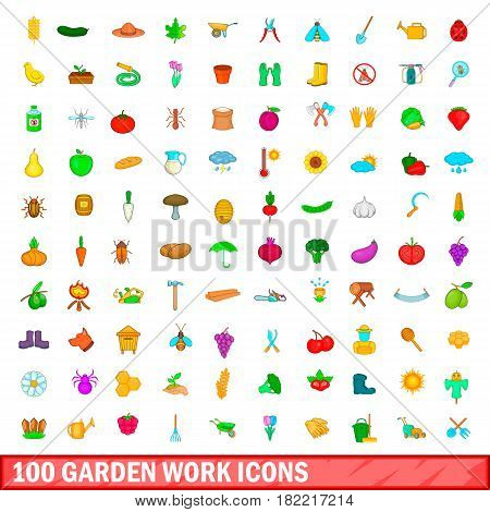 100 garden work icons set in cartoon style for any design vector illustration