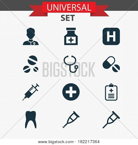 Antibiotic Icons Set. Collection Of Review, Analyzes, Healer And Other Elements. Also Includes Symbols Such As Medical, Plus, Analyzes.