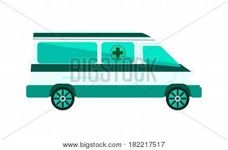 Ambulance car vector illustration isolated on white background. Emergency medical service vehicle, hospital transport.