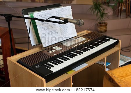 PETROPAVL, KAZAKHSTAN - JULY 24, 2015: Synthesizer in The Roman Catholic Church of the Most Sacred Heart of Jesus in Petropavl. The number of Catholics in the country is less than two percent.