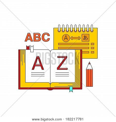 Learn language concept with textbook vector illustration isolated on white background. Foreign language study icon in flat design