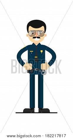 American policeman in uniform vector illustration isolated on white background. Police officer or cop character in flat design.
