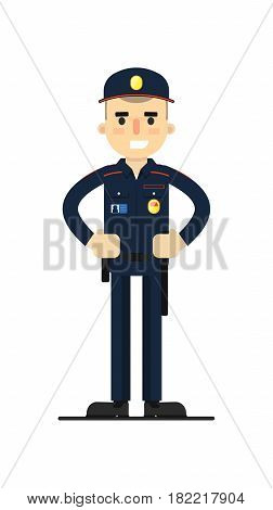 Security man in uniform vector illustration isolated on white background. Patrolman or cop character in flat design.