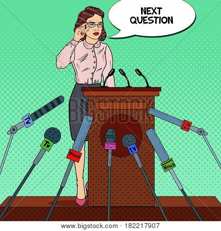 Business Woman Giving Press Conference. Mass Media Interview. Pop Art Vector illustration