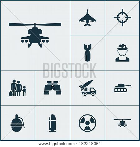 Combat Icons Set. Collection Of Slug, Aircraft, Dangerous And Other Elements. Also Includes Symbols Such As Shot, Rocket, Soldier.