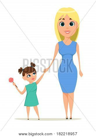 Happy mother's day greeting card. Mother holding her daughter hand. Best mom mum ever cute. Daughter with tasty candy. Mother Love Children - stock vector