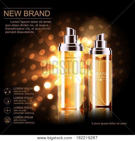 Vector illustration to promote moisturizing and nourishing cosmetic product premium. Frosted transparent Golden bottle cosmetics background with glowing elements.