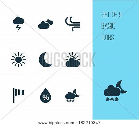 Nature Icons Set. Collection Of Sun, Weather, Moisture And Other Elements. Also Includes Symbols Such As Vane, Rain, Flag.