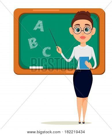 Teacher pointing on the blackboard while lesson. Cheerful female instructor in glasses. Happy Teacher's Day. - stock vector