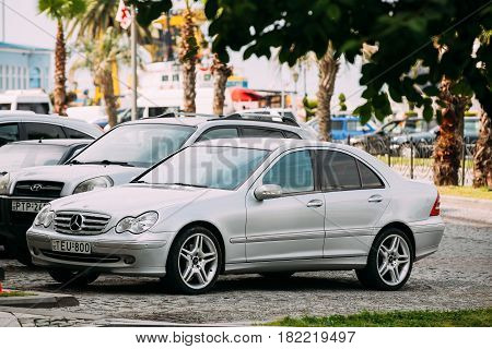 Batumi, Georgia - May 27, 2016: Mercedes-Benz C-Class W203 Car Parked In street on Sunny Summer Day. W203 is an automobile which was produced by German manufacturer Mercedes-Benz from 2000 to 2006.